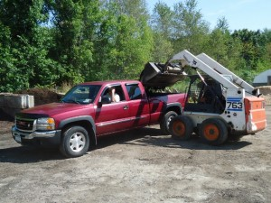 Pickup of soil and mulch